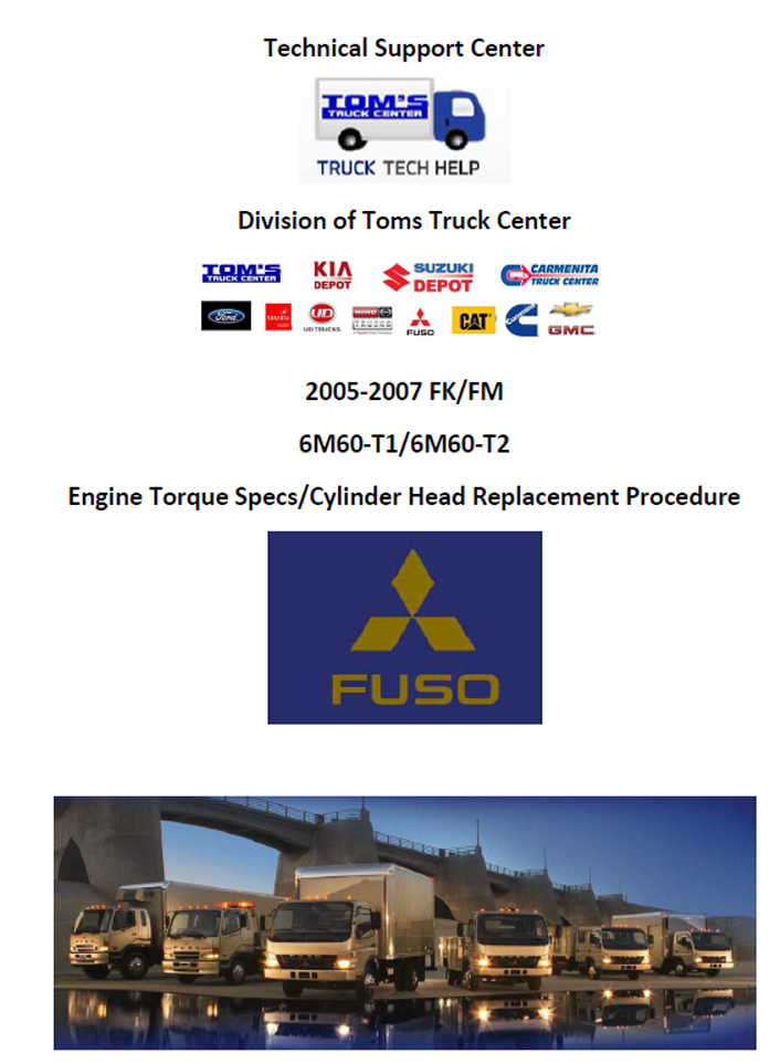 2005-2007 Mits 6M60 Engine Torque Specs/Cylinder Head Replacement